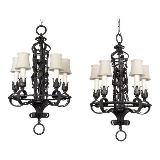 Spanish Colonial Revival Chandelier Pair For Sale