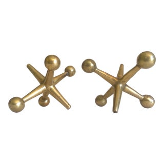 1960's Mid Century Modern Bill Curry Design Line Cast Solid Brass Large Jacks Bookend Sculptures - a Pair