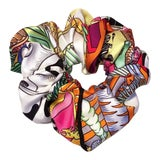 Image of Hermes Handmade Vintage Silk Scarf Scrunchie in White, Black, and More Multicolors For Sale