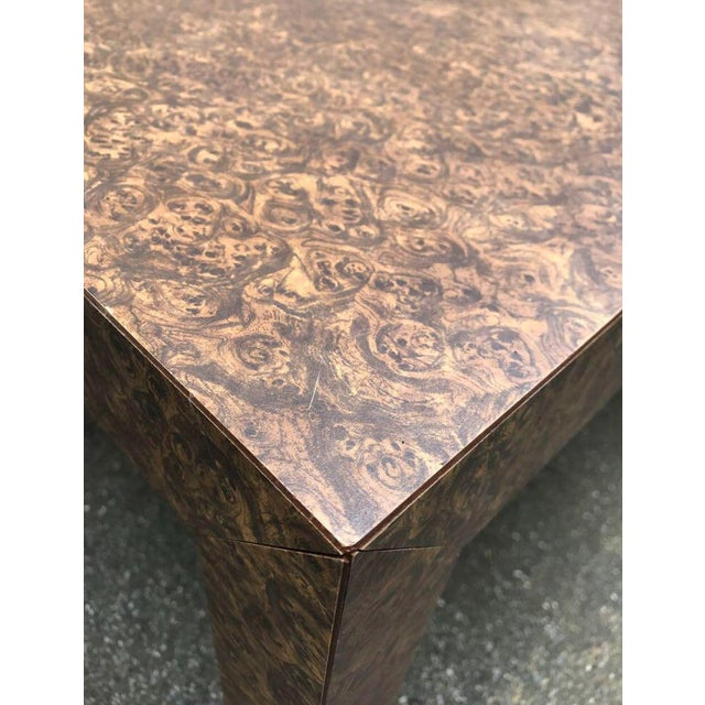 1980s Vintage Burl Wood Laminate Parsons Style Dining Table For Sale - Image 5 of 9