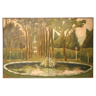 3-D Garden of Versailles Two-Panel Wall Mural For Sale