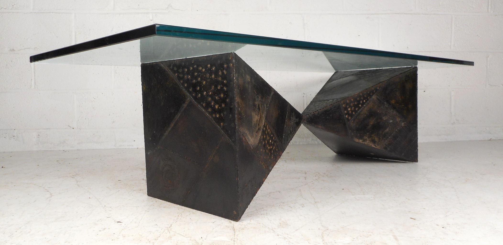 Paul Evans Stunning Glass Top Brutalist Coffee Table By Paul Evans For  Directional For Sale