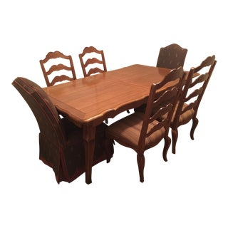 French Country Ethan Allen Dining Table and Six Chairs For Sale