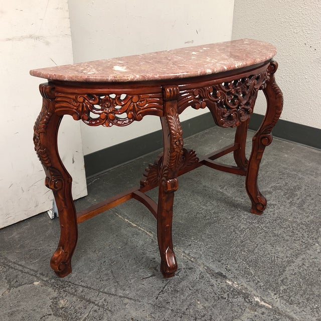 Marble Top Demilune Console - Image 3 of 8