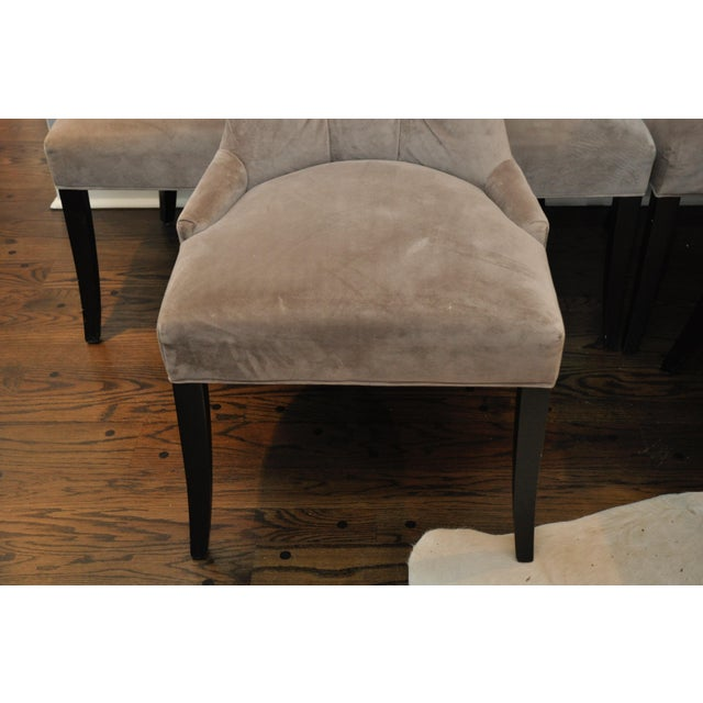 Velvet Upholstered Dining Chairs - Set of 6 - Image 4 of 8