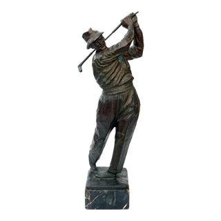 Modeled Vintage Patinated Bronze Figure of a Golfer For Sale
