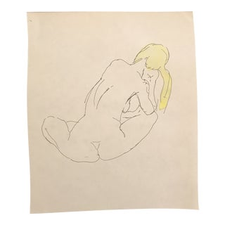 1950s Blonde Female Nude Watercolor Drawing For Sale