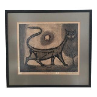 1960s Vintage Cat Framed Print For Sale