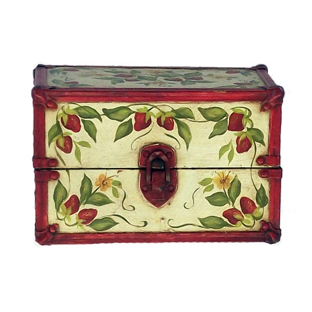 Vintage Hand Painted Doll Trunk - Image 1 of 4