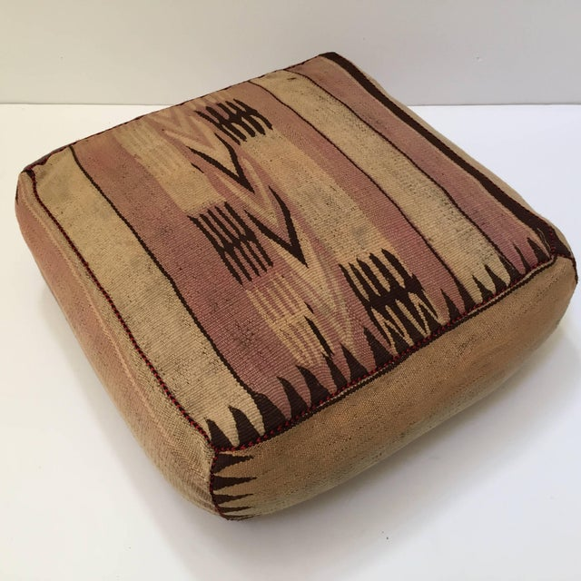 Moroccan Tribal Floor Pillow Seat Cushion Made From a Vintage Berber Rug For Sale In Los Angeles - Image 6 of 13