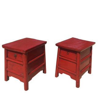Antique Chinese Red Country Stools - a Pair For Sale