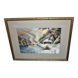 """Winter Sunset on a Mountain Lake"" Embroidery Silk Art"