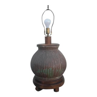 Vintage Mid-Century Ceramic Lamp on Wood Footed-Base For Sale