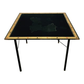 Antique Black Silk Top Gold Leaf Game Table For Sale