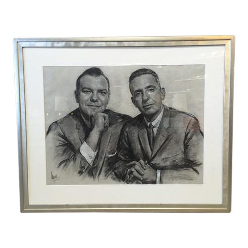 1960's Framed Charcoal Portrait Drawing For Sale