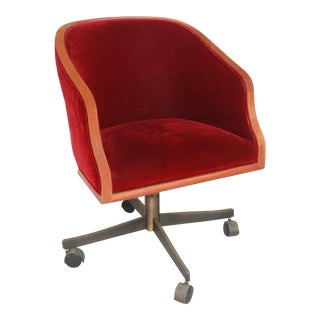 1970s Vintage Ward Bennett Oak Mohair Executive Chair For Sale
