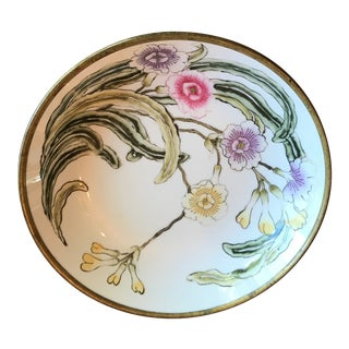 Lord and Taylor Chinoiserie Porcelain Dish With Brass Bottom For Sale