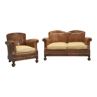 French Art Deco Leather Settee and Matching Club Chair For Sale