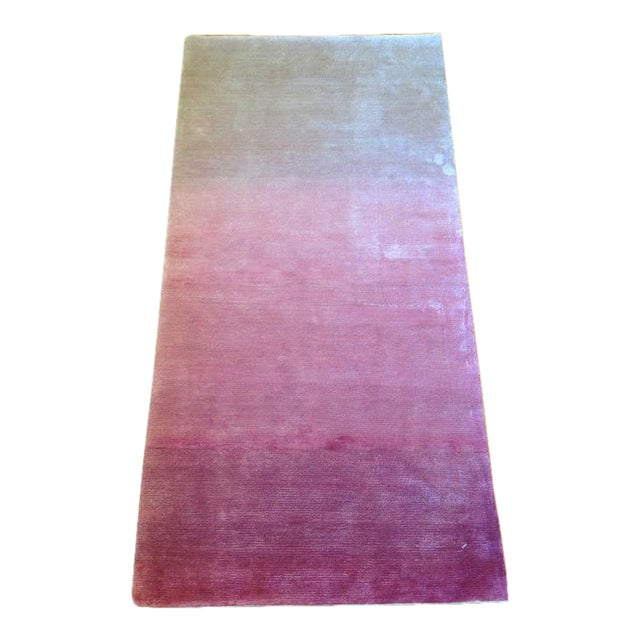 Silky White & Pink Ombre Rug - 2' X 4' - Image 1 of 3