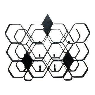 Midcentury Spanish Revival Geometric Wine Rack For Sale