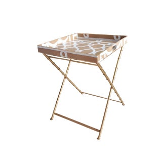 Dana Gibson Taupe Ming Side Table For Sale