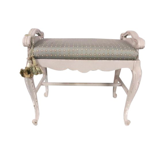 French Carved Upholstered Vanity Bench For Sale