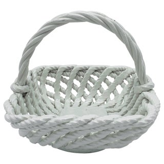 1960s Italian Ceramic Rope Basket Candy Dish For Sale