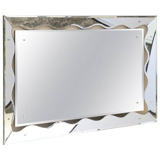 Hollywood Regency Monumental Scalloped Horizontal Mirror For Sale