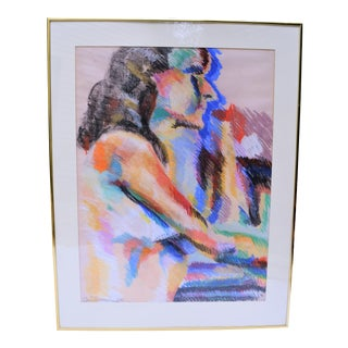 Vintage Pastel Nude Woman Framed Painting For Sale