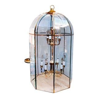 Large Octagonal Bent Beveled Glass and Brass Lantern Style Pendant Chandelier For Sale