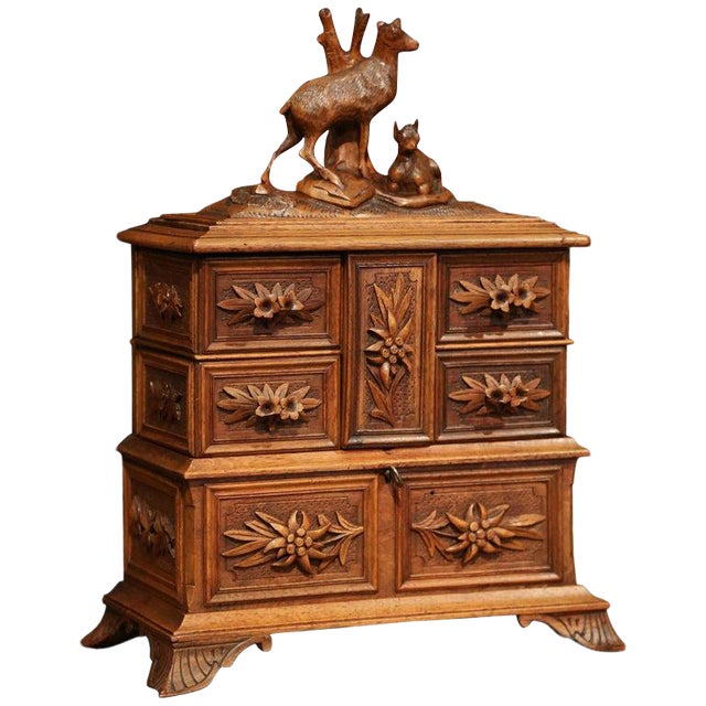 19th Century French Black Forest Carved Walnut Jewelry Box For Sale