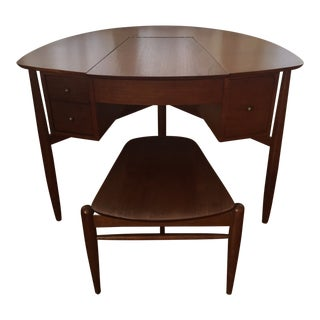 1960s Mid-Century Modern Wooden Vanity and Stool - 2 Pieces For Sale