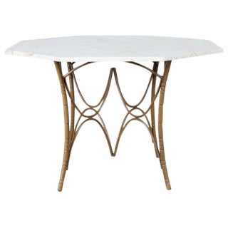 Italian Midcentury Faux Bamboo Marble-Top Dining Table For Sale