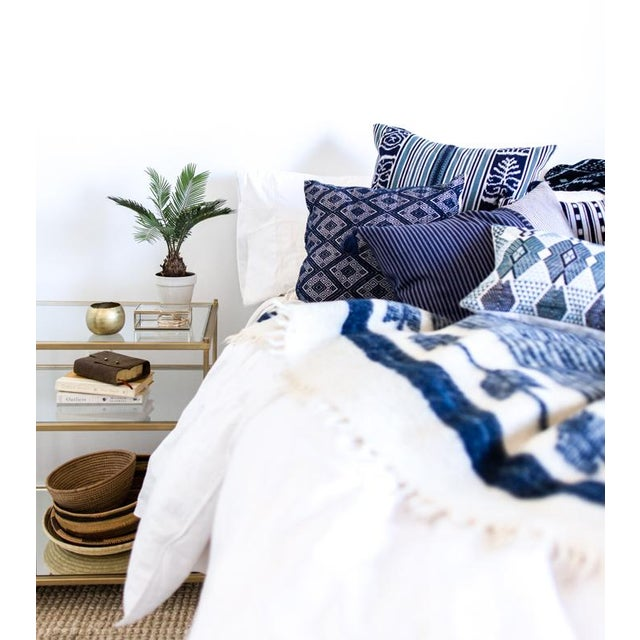 Navy Diamond Handwoven Pillow - Image 4 of 6