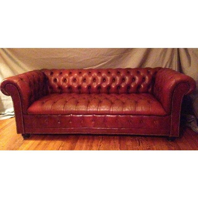 Classic Mid-Century Ox-Blood Red Tufted Leather Chesterfield Sofa