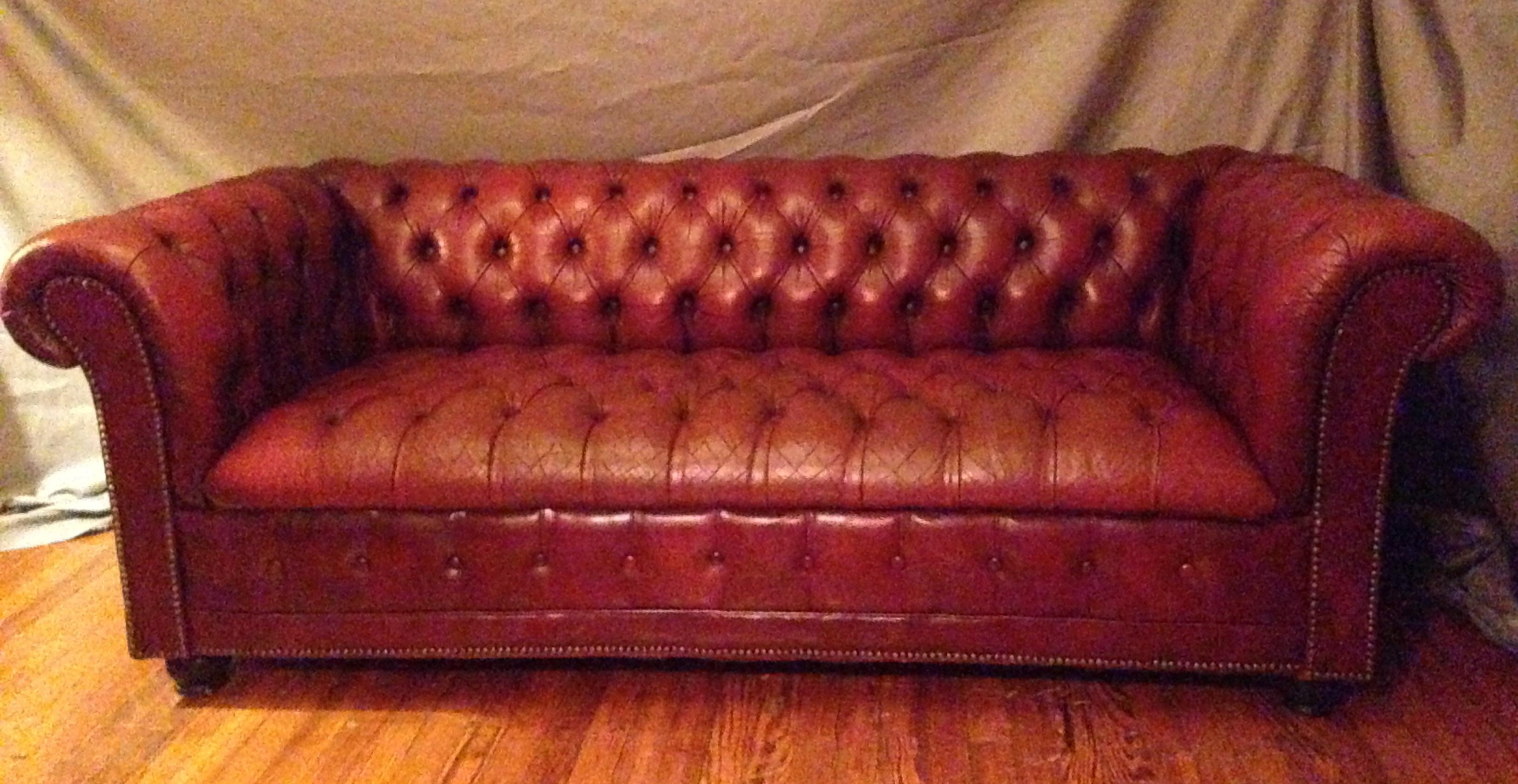 The Red Leather Of This Beautiful Chesterfield Sofa Is Perfectly,  Ever So Slightly