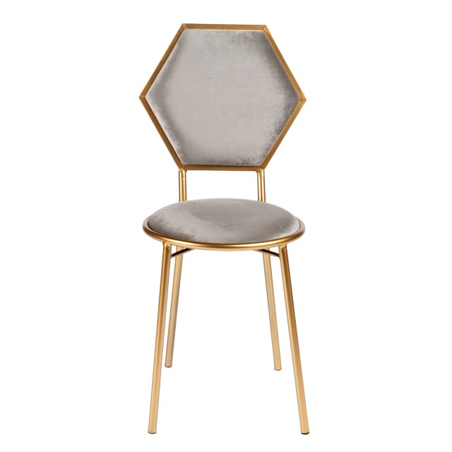 Le Petit Chair in Gray Velvet With Gold Legs For Sale