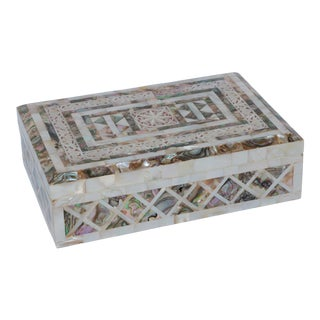 Mother of Pearl and Abalone Hinged Box With Key For Sale
