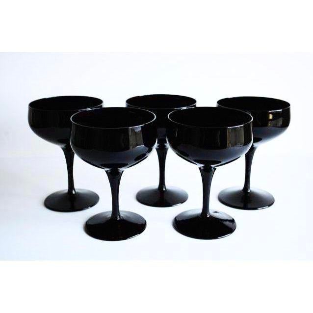 Boho Chic Black Champagne Coupes - Set of 5 For Sale - Image 3 of 4