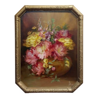 "1900s Vintage ""Beautiful Still Life of Flowers"" Oil Painting by Florine Hyer For Sale"