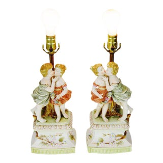 Vintage Arnart Porcelain Figural Lamps - A Pair