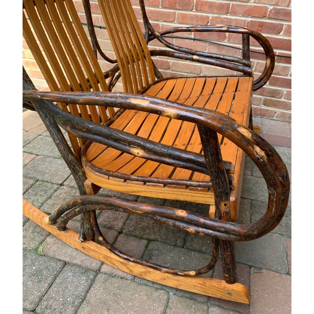 Wood Bentwood and Twig Adirondack Double Vintage Rocking Chair For Sale - Image 7 of 13