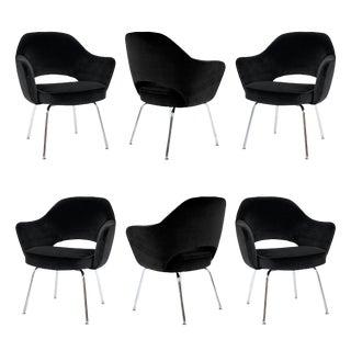 Saarinen Executive Arm Chairs in Noir Velvet - Set of 6