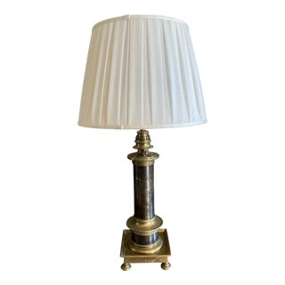 Mid-Century Brass Table Lamp With Bronze Accents For Sale