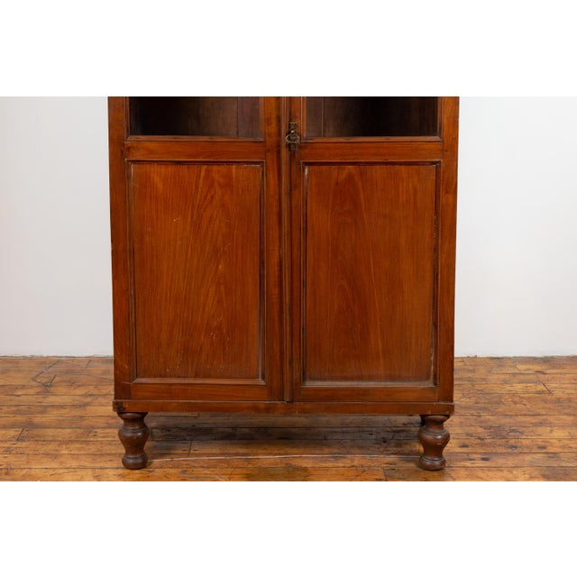Antique Dutch Colonial Tall China Cabinet With Glass Doors and Arched Motifs For Sale - Image 9 of 13