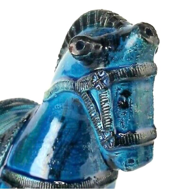 Ceramic Italian Mid-Century Bitossi Rimini Blue Horse Pottery Sculpture by Aldo Londi For Sale - Image 7 of 13