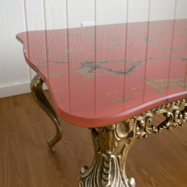 Hollywood Regency Coffee Table | Cabriole Legs Marbled Red Glass For Sale - Image 9 of 13