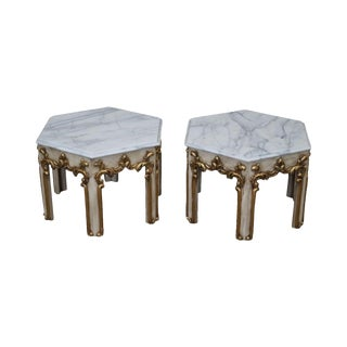 Quality Pair of Hollywood Regency Partial Gilt Hexagon Marble Top Side Tables For Sale