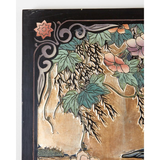 Chinese Export Gilt Coromandel Screen Crane Landscape For Sale In San Francisco - Image 6 of 13