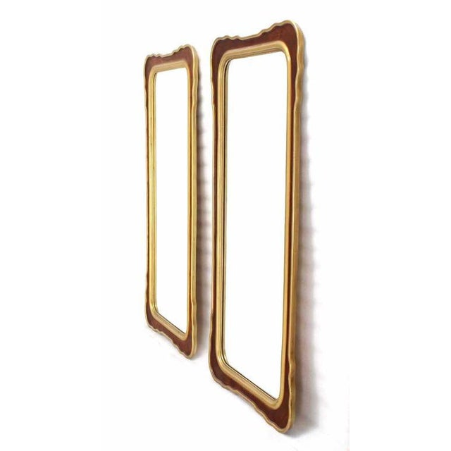 Pair Of Nice Burl Wood Mid Century Modern Mirrors